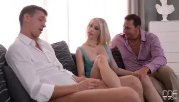 Girls arrange a casting session playing with jock